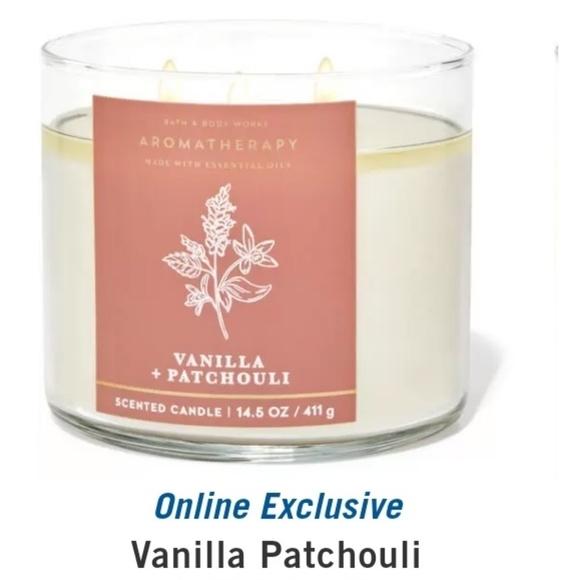 "🕯NWT‼️ BBW ""Vanilla  + Patchouli"" 3-wick Candle"